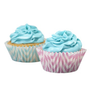 Ginger Ray Chevron Divine Pastel Cupcake Cases, Pink/Blue