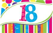 Creative Converting Bright and Bold 8 Count 18th Birthday Invitations