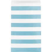 Creative Converting 15 Count Paper Treat Bags with Stripes, Medium, Patel Blue