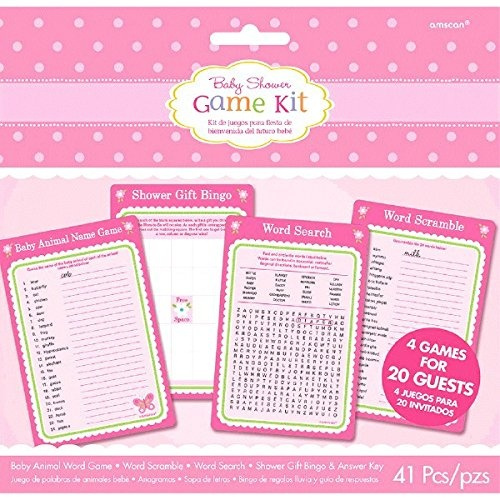 Amscan Dainty Welcome Little One Girl Baby Shower Game Kit,