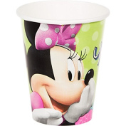 Disney Minnie Paper Cups Birthday Party Hot and Cold Beverage Drink Disposable Tableware and Drinkware (8 Pack), Lime Green, 270ml.