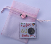 Happy 60th Birthday Gift - Lucky Sixpence in Organza Bag Keepsake