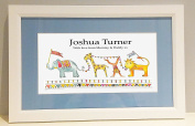 Jungle Parade White Framed Name Picture, Baby Gift, Christening Gift, blue mount/white frame