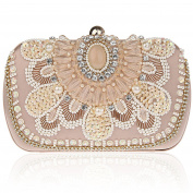 KAXIDY Antique Floral Seed Bead Sequin Clutch Evening Bags Exquisite Sequined Flower Evening Clutch Handbags