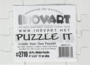 Inovart Puzzle-It 16-Piece Blank Puzzle, 12 Puzzles Per Package, 10cm x 13cm - 1.3cm , White