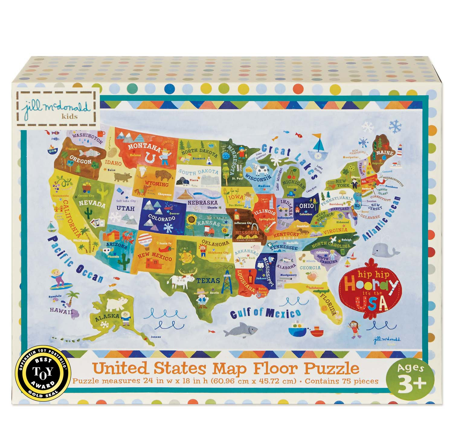 C.R. Gibson United States Map Floor Jigsaw Puzzle Game for Kids ...