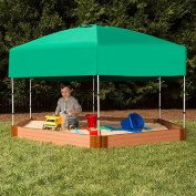 Frame It All Two Inch Series Composite Hexagon Sandbox Kit with Canopy/Cover, 2.1m x 2.4m x 14cm