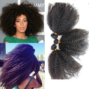 Romantic Angels. 46cm Afro Kinky Curly Human Hair Extensions 1 Bundle Hair Weft for Black Women by Romantic Angels