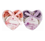 Invero® 2x Pack of Ladies Rose & Lavender Scented Bathing Soap Petals - Gift Packed in Heart Shaped Box with Ribbon