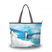 JSTEL Extra Large Handbags for Women,Cute Snow Penguin ,Fashion Design Ladies Shoulder Tote Bag