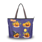 JSTEL Extra Large Handbags for Women,Happy Halloween Cute Ghost Spooky Cemetery Bat Pumpkin Witch Spiderweb Design 01,Fashion Design Ladies Shoulder Tote Bag