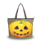 JSTEL Extra Large Handbags for Women,Happy Halloween Cute Ghost Spooky Cemetery Bat Pumpkin Witch Spiderweb Design 03,Fashion Design Ladies Shoulder Tote Bag