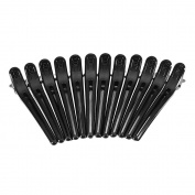 Anself 12Pcs Hair Sectioning Clamps Plastic Salon Styling Black