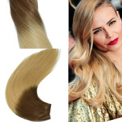 Silky Straight Weft Hair Extensions Remi Virgin Human Hair Weave From Brown To Blonde Dip Dyed Colour 100g/pc
