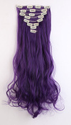 S-noilite Fashion 8 Piece Clip in Hair Extensions Long Full Head 18 Clips 60cm Curly Black Purple