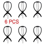 6pcs Wigs Stand, SUMERSHA Wig Holder Durable Plastic Folding Wig Display Tool Stable Pack of 6