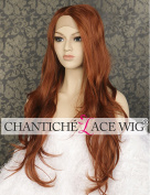Chantiche Halloween Wavy Auburn Wigs uk Long Lace Front Wig for Women Side Parting Natural Looking Synthetic Hair Heat Resistant Fibre 60cm