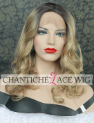 Chantiche 2016 Fashion Blonde Lace Front Wig Short Synthetic Hair Curly Wigs for White Women Natural Looking Ombre Dark Roots Mixed Blonde Hair with Parting