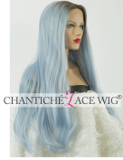 Chantiche Fashion Natural Looking Dark Roots Ombre Blue Wigs for Women Long Straight synthetic Hair Lace Front Wig uk Half Hand Tied Heat Resistant Fibre 60cm