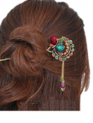 Colourful Vintage Retro Style Butterfly Beaded Antique Brass Hair Stick Pin Clip w/ Tassel for Long Hair Ponytail