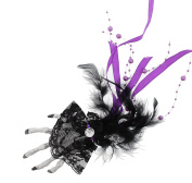 Glitter Skeleton Hand Fascinator with Feathers, Ribbon, Lace & Hanging Pearls