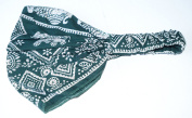 100% cotton TRIBAL THAI ELEPHANT DESIGN LADIES BANDANA (cool . bandana covered in a traditional siam design), Green colour