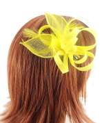 Stunning Crepe Looped Flower Hair Fascinator with Sinamay Leaves and matching Feathers finished on Sprung Clip