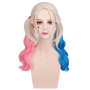 Women's Fashion Pink Blue Weave Cosplay Wigs Gradual Colour