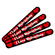 Double-Sided Nail File Emery Board Set 4 Pack I Love Heart Animals T-Z - Wolverines