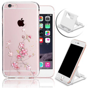 iPhone 6S Case, Bling Diamond Back Cover for iPhone 6,Vandot Soft TPU Transparent Colourful Pattern Snap-on Slim Fit Case Cover for Apple iPhone 6S 6 12cm -Pink Flower Vine+Multi-Angle Phone Holder