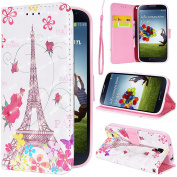SmartLegend Samsung Galaxy S4 Case Wallet Cover 3D Arting Pattern Stylish PU Hand Wrist Strap with Magnet Closure and Card Slots Holster Mobile Phone Protective Case -Eifel Tower