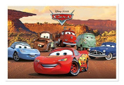 Disney Pixar Cars Characters Poster Magnetic Notice Board White Framed - 96.5 x 66 cms