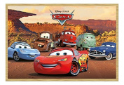 Disney Pixar Cars Characters Poster Magnetic Notice Board Beech Framed - 96.5 x 66 cms