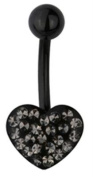 Trend Accessory Zone Piercing, Belly Bar, Banana, Heart, PVD Black Surgical Steel, Epoxy, 1.6 x 10 mm, No 1600315