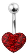 Trend Accessory Zone Piercing, Belly, Epoxy, Red Heart, Belly Bar, Banana, Surgical Steel, Epoxy, 1.6 x 10 mm, No 1600320