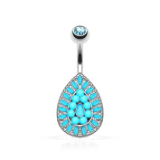 Paula & Fritz Belly Button Piercing Made of 316L Stainless Steel Surgical Steel Vintage Teardrops Studded Turquoise