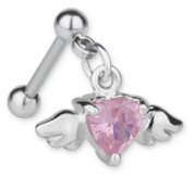 Trend Accessory Zone Piercing, Ear Piercing, Barbell, Heart with Wings, Surgical Steel, X 1.2 x 3 mm, Pink Crystal, No 1600387