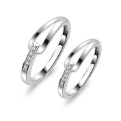 ZPL ZPLS925 Sterling Silver inlay Open Couple Rings,Adjustable