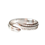 Purposefull C56 Women's Ring - Feather Design - 925 Sterling Silver - Fashion Accessory - Adjustable Jewellery