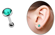 Ear Piercing Jewellery Helix, Tragus, Stud with Ball and Stone plate, green turquoise in 5 mm ø
