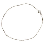 Sterling Silver 1.1mm Box Link Nickel Free Chain Anklet Italy
