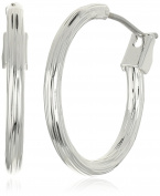 "Napier ""Classics"" Silver-Tone Small Textured Hoop Earrings"