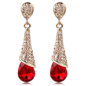 CNCbetter Women Fashion Jewellery Austrian Crystal Charms Red Teardrop Stud Earring for Lady Banquet