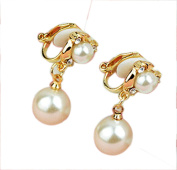 CNCbetter Fashion Women's Jewellery Rose Gold Plated Inlaid Rhinestone Waterdrop Pearl Clip on Earrings