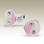 Pink White Crystals Ying Yang Earrings, Harmony and Balance