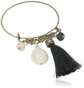 Cara Wire Bangle with Tassel White Charm Bracelet