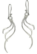 Signature Sterling Silver Triple Wave Earrings One Size Silver tone