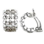 Rhodium Plated Lattice Filigree Linked Chain Fashion Clip on Earrings