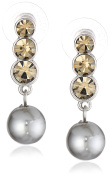 """Signature 4900cm Pearl Essentials"""" Silver-Tone Crystal and Grey Drop Earrings"""