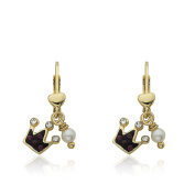 Molly Glitz Pretty Princess 14K Gold Plated Purple Crystal Crown & Fresh Water Pearl Dangle Leverback Earring/ Brass